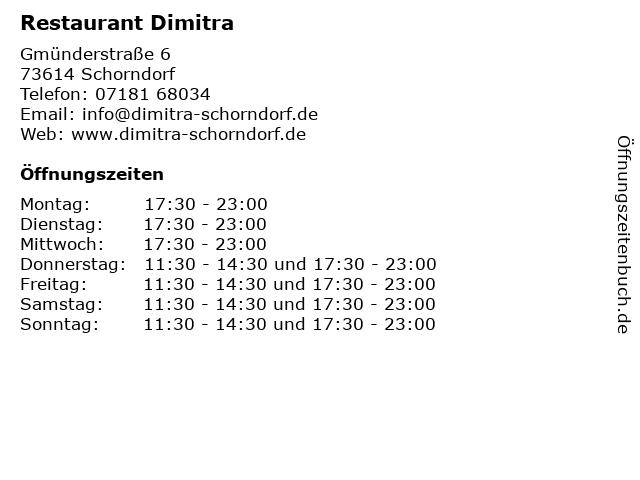 Restaurant Dimitra in Schorndorf: Adresse und Öffnungszeiten