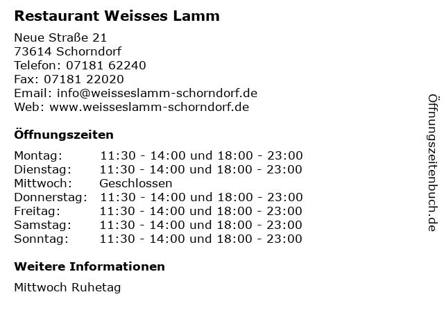 Restaurant Weisses Lamm in Schorndorf: Adresse und Öffnungszeiten