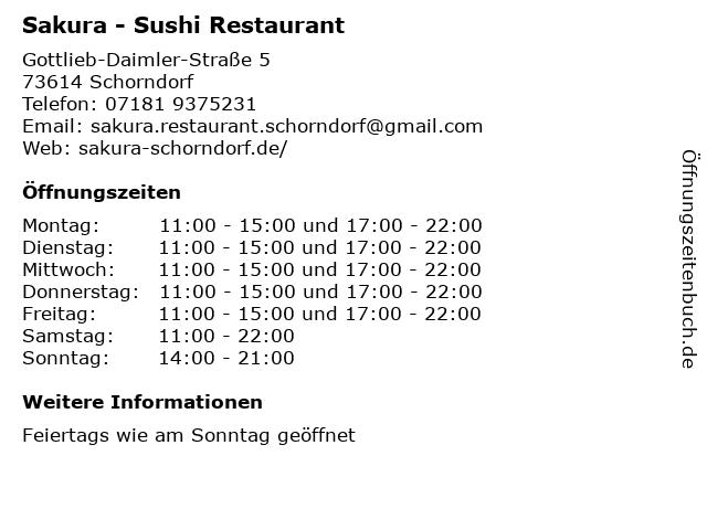 Sakura - Sushi Restaurant in Schorndorf: Adresse und Öffnungszeiten