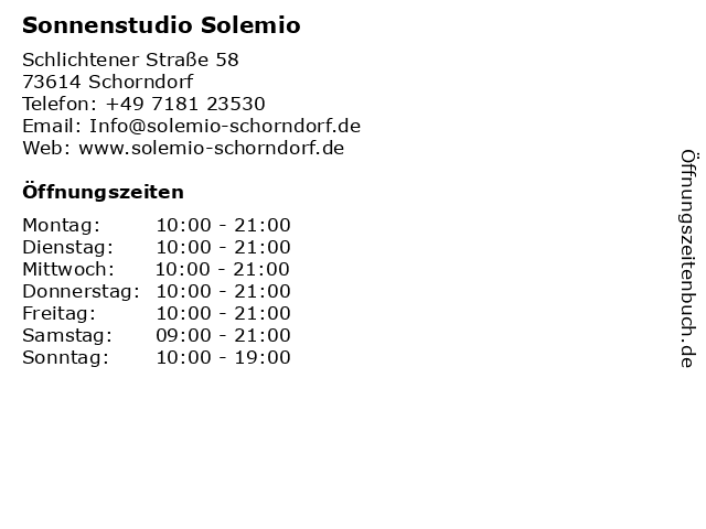Sonnenstudio Solemio in Schorndorf: Adresse und Öffnungszeiten