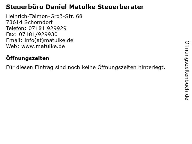 Steuerbüro Daniel Matulke Steuerberater in Schorndorf: Adresse und Öffnungszeiten