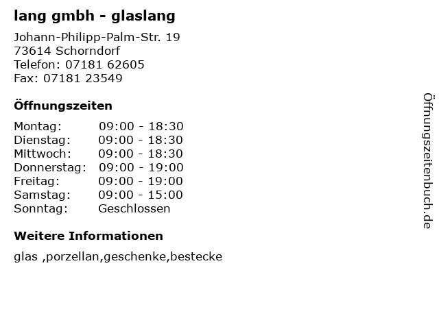 lang gmbh - glaslang in Schorndorf: Adresse und Öffnungszeiten