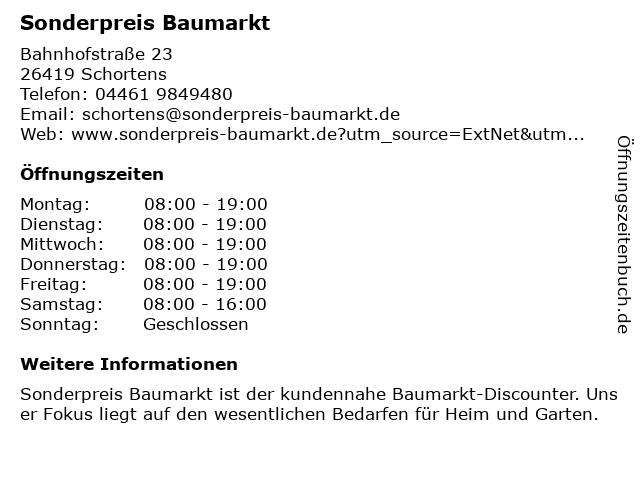 Sonderpreis Baumarkt in Schortens: Adresse und Öffnungszeiten