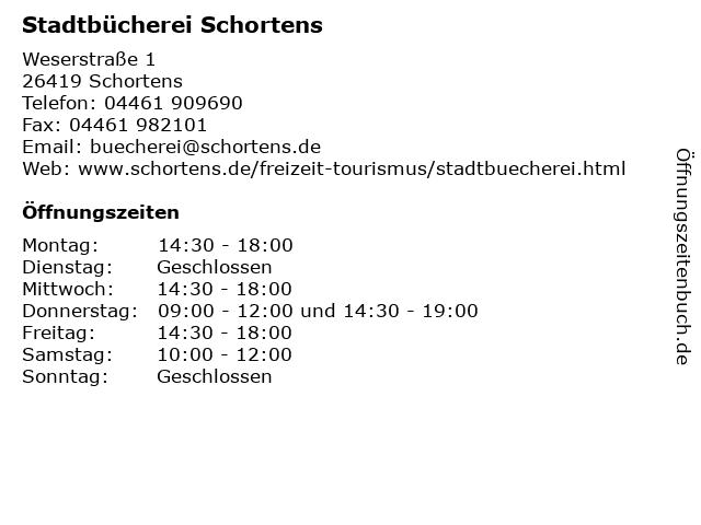 Stadtbücherei Schortens in Schortens: Adresse und Öffnungszeiten