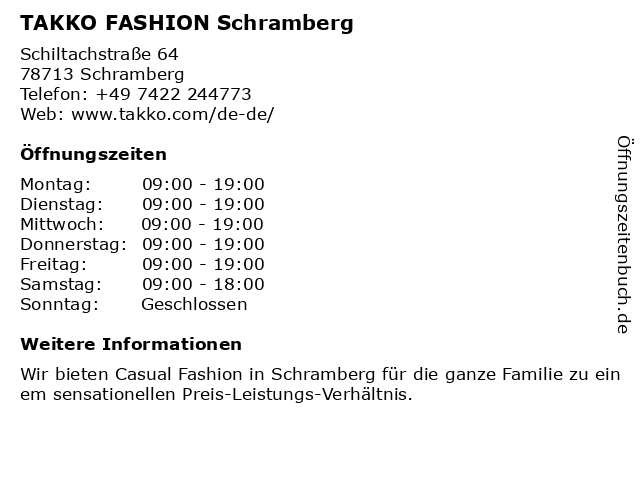 Takko Fashion in Schramberg: Adresse und Öffnungszeiten
