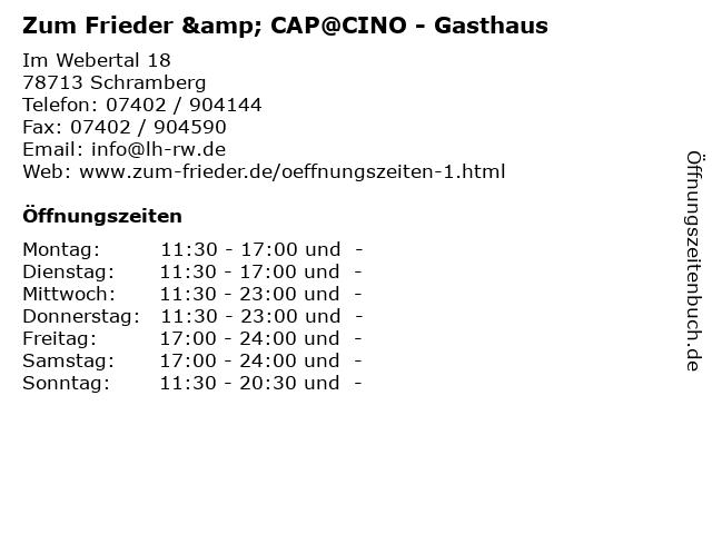 Zum Frieder & CAP@CINO - Gasthaus in Schramberg: Adresse und Öffnungszeiten