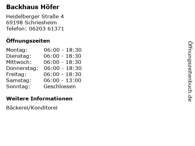 Backhaus Höfer in Schriesheim: Adresse und Öffnungszeiten