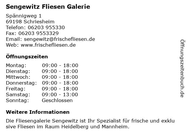 Sengewitz Fliesen Galerie in Schriesheim: Adresse und Öffnungszeiten