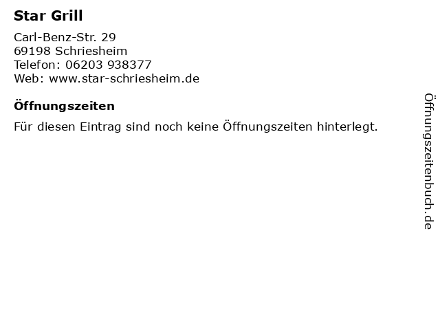 Star Grill in Schriesheim: Adresse und Öffnungszeiten