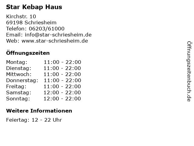 Star Kebap Haus in Schriesheim: Adresse und Öffnungszeiten