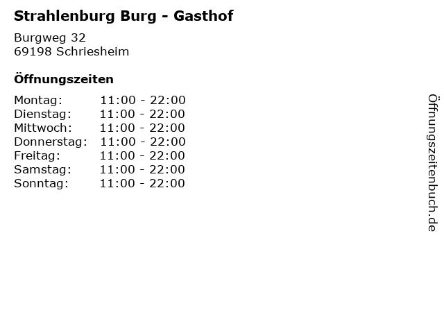 Strahlenburg Burg - Gasthof in Schriesheim: Adresse und Öffnungszeiten