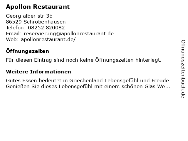 Restaurant Apollon in Schrobenhausen: Adresse und Öffnungszeiten