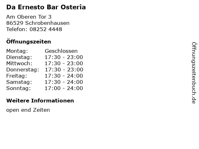 Da Ernesto Bar Osteria in Schrobenhausen: Adresse und Öffnungszeiten