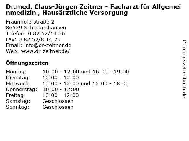 """ᐅ Öffnungszeiten """"Dr med  Claus-Jürgen Zeitner"""