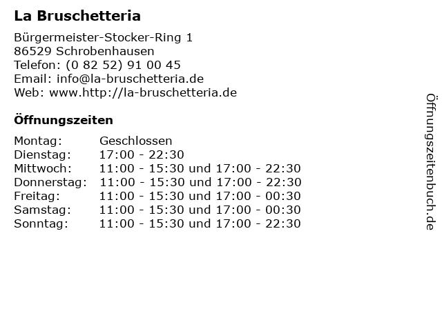 La Bruschetteria in Schrobenhausen: Adresse und Öffnungszeiten