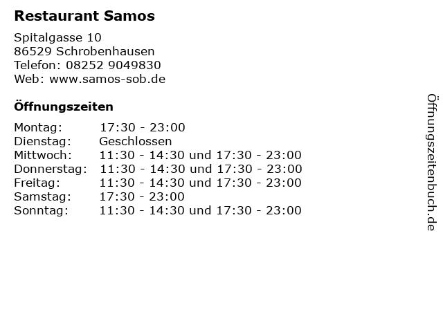 Restaurant Samos in Schrobenhausen: Adresse und Öffnungszeiten