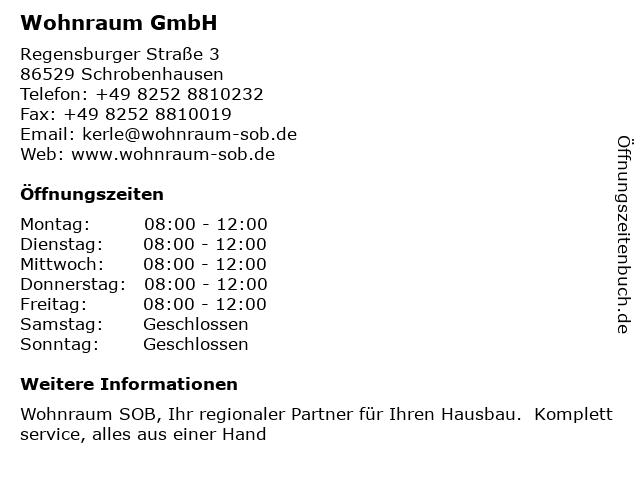 ᐅ öffnungszeiten Wohnraum Gmbh Regensburger Straße 3 In