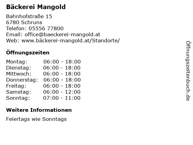 Bäckerei Mangold in Schruns: Adresse und Öffnungszeiten