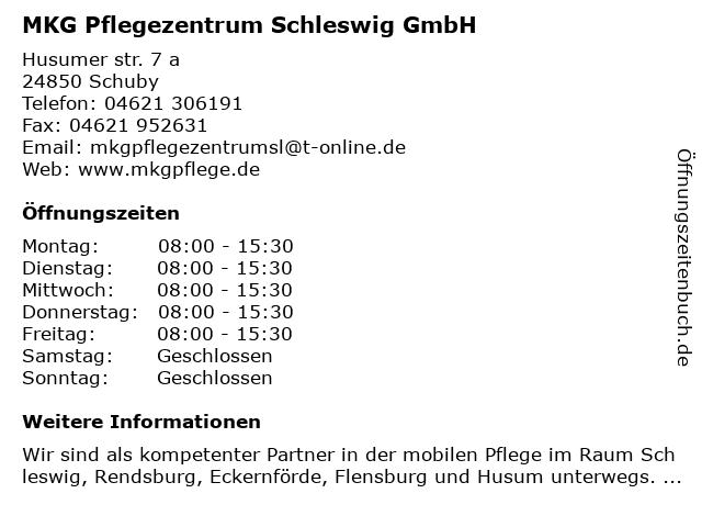 MKG Pflegezentrum - Bürozeiten in Schuby: Adresse und Öffnungszeiten