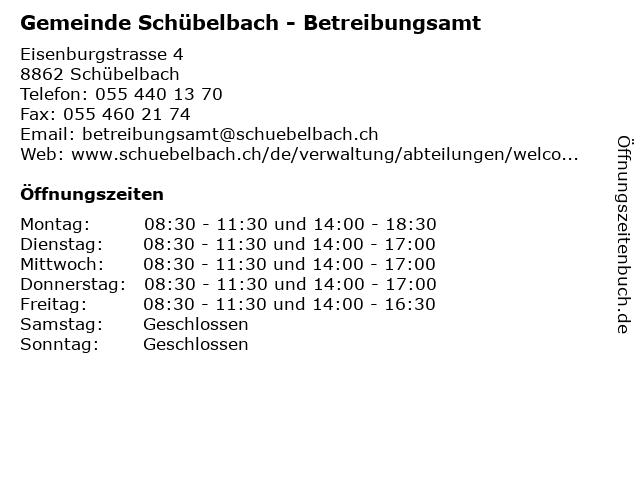 Gemeinde Schübelbach - Betreibungsamt in Schübelbach: Adresse und Öffnungszeiten