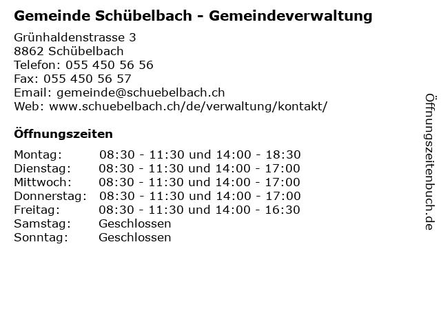 Gemeinde Schübelbach - Gemeindeverwaltung in Schübelbach: Adresse und Öffnungszeiten