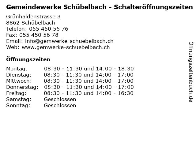 Gemeindewerke Schübelbach - Schalteröffnungszeiten in Schübelbach: Adresse und Öffnungszeiten