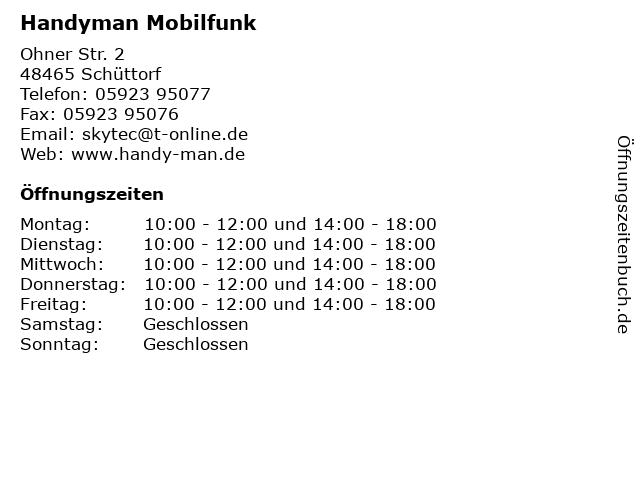 Handyman Mobilfunk in Schüttorf: Adresse und Öffnungszeiten