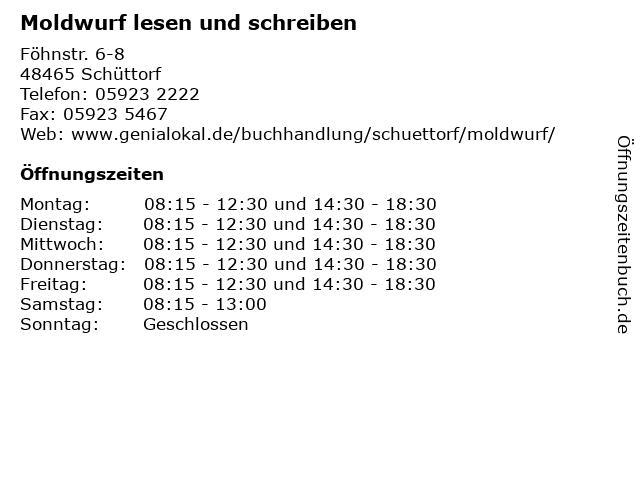 Moldwurf lesen und schreiben in Schüttorf: Adresse und Öffnungszeiten
