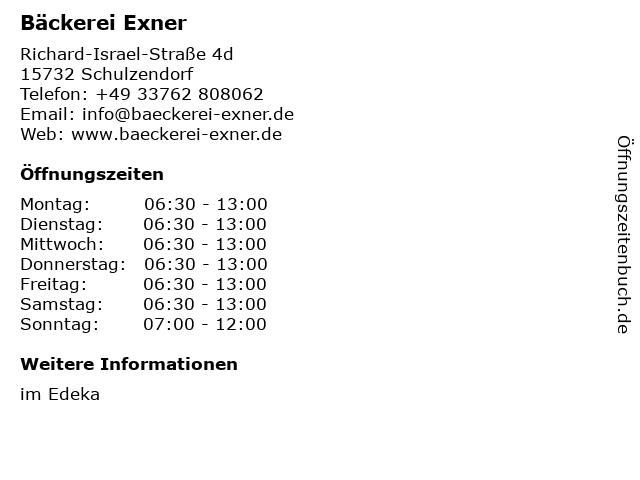 Bäckerei Exner in Schulzendorf: Adresse und Öffnungszeiten