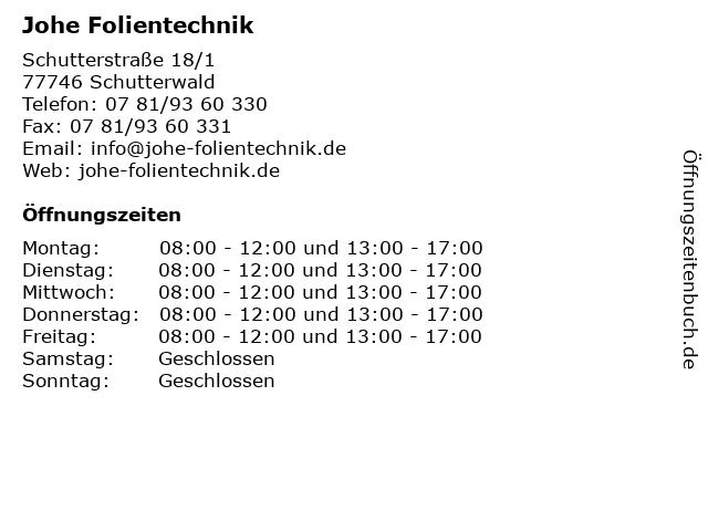 Johe Folientechnik in Schutterwald: Adresse und Öffnungszeiten