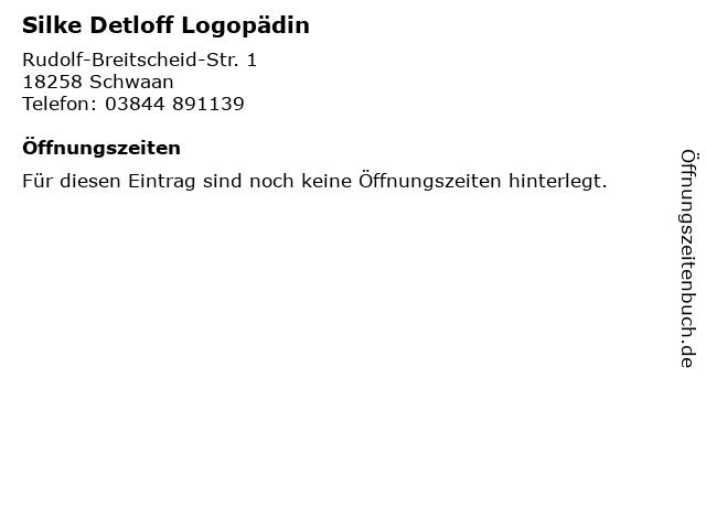 Silke Detloff Logopädin in Schwaan: Adresse und Öffnungszeiten
