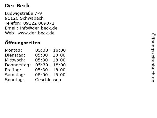 Der Beck GmbH in Schwabach: Adresse und Öffnungszeiten