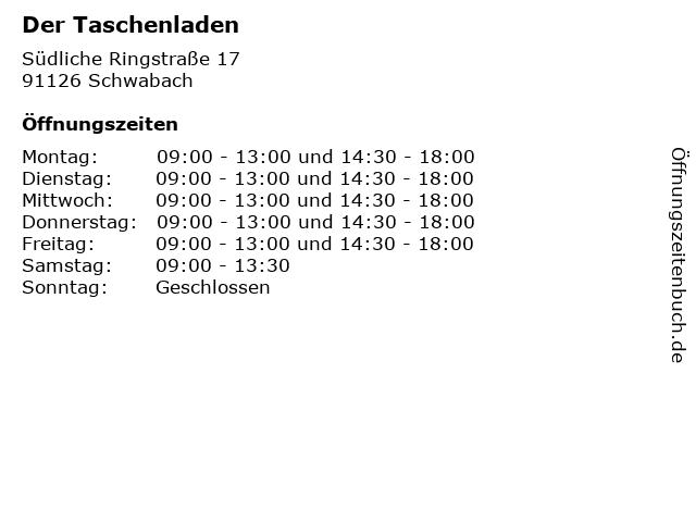 Der Taschenladen in Schwabach: Adresse und Öffnungszeiten