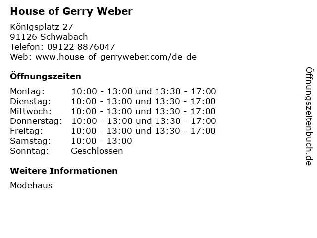 HOUSE OF GERRY WEBER in Schwabach: Adresse und Öffnungszeiten
