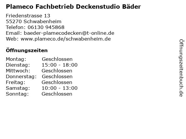 Plameco Fachbetrieb Deckenstudio Bäder in Schwabenheim: Adresse und Öffnungszeiten