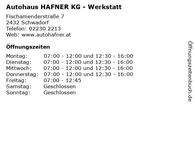 Autohaus HAFNER KG - Werkstatt in Schwadorf: Adresse und Öffnungszeiten