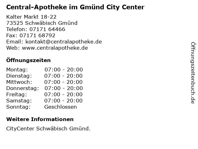 Central-Apotheke im Gmünd City Center in Schwäbisch Gmünd: Adresse und Öffnungszeiten