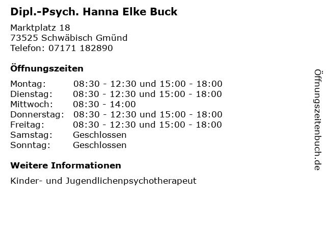 Dipl.-Psych. Hanna Elke Buck in Schwäbisch Gmünd: Adresse und Öffnungszeiten