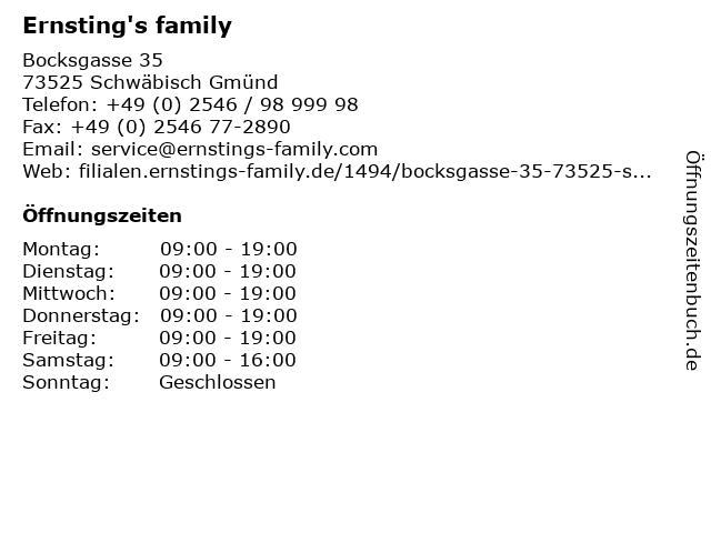 Ernsting's family in Schwäbisch Gmünd: Adresse und Öffnungszeiten