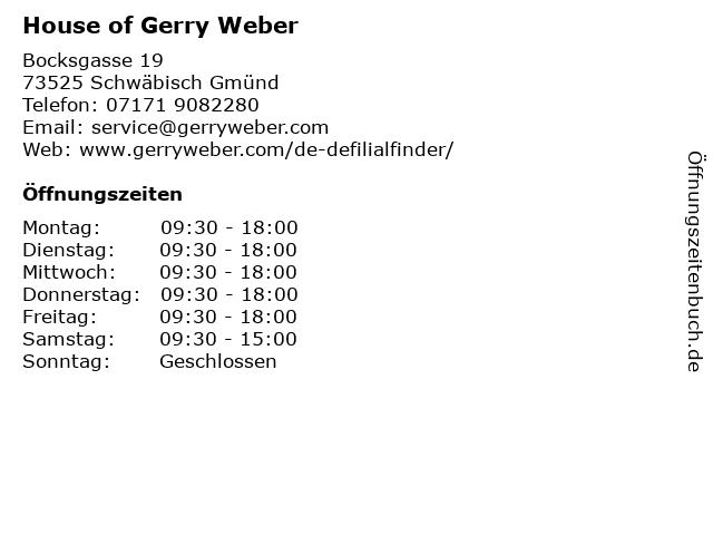 GERRY WEBER Shop in Schwäbisch Gmünd: Adresse und Öffnungszeiten