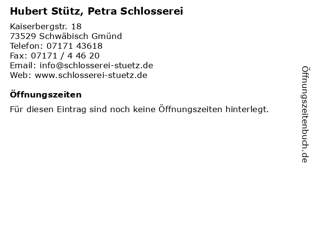 Hubert Stütz, Petra Schlosserei in Schwäbisch Gmünd: Adresse und Öffnungszeiten