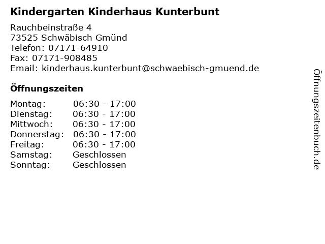 Kindergarten Kinderhaus Kunterbunt in Schwäbisch Gmünd: Adresse und Öffnungszeiten