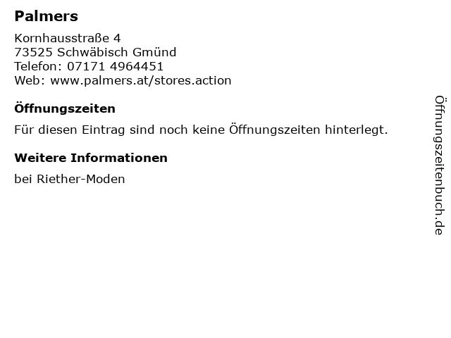 Palmers in Schwäbisch Gmünd: Adresse und Öffnungszeiten