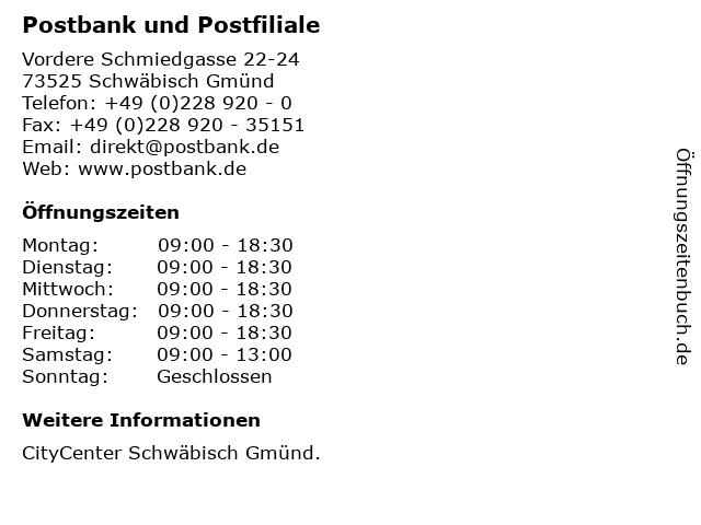 Deutsche Post AG Postbank Finanzcenter in Schwäbisch Gmünd: Adresse und Öffnungszeiten