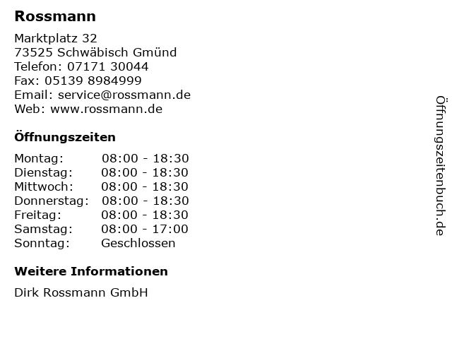 Rossmann in Schwäbisch Gmünd: Adresse und Öffnungszeiten