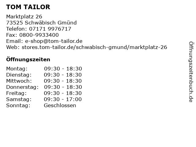 TOM TAILOR in Schwäbisch Gmünd: Adresse und Öffnungszeiten