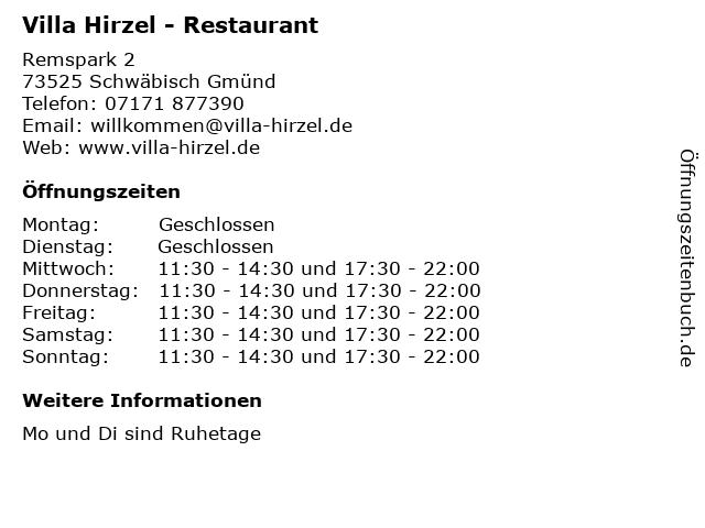 Villa Hirzel - Restaurant in Schwäbisch Gmünd: Adresse und Öffnungszeiten