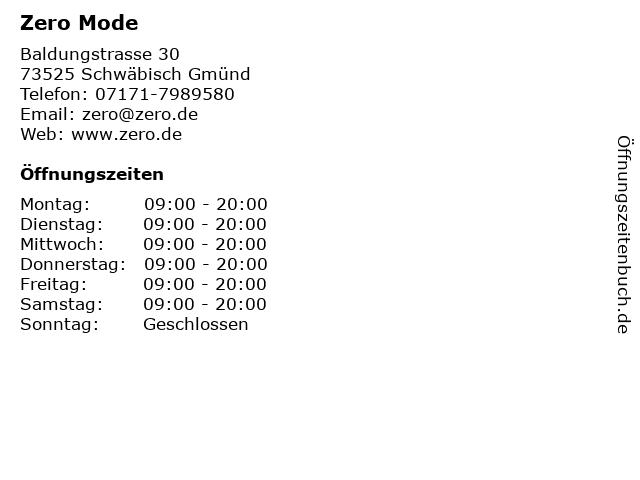 Zero Mode in Schwäbisch Gmünd: Adresse und Öffnungszeiten