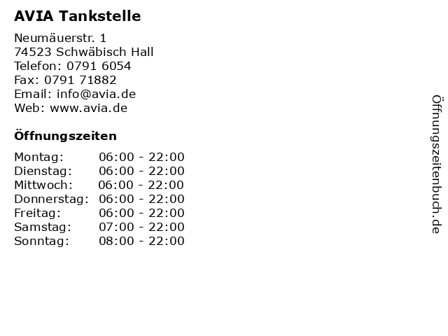 AVIA Tankstelle in Schwäbisch Hall: Adresse und Öffnungszeiten