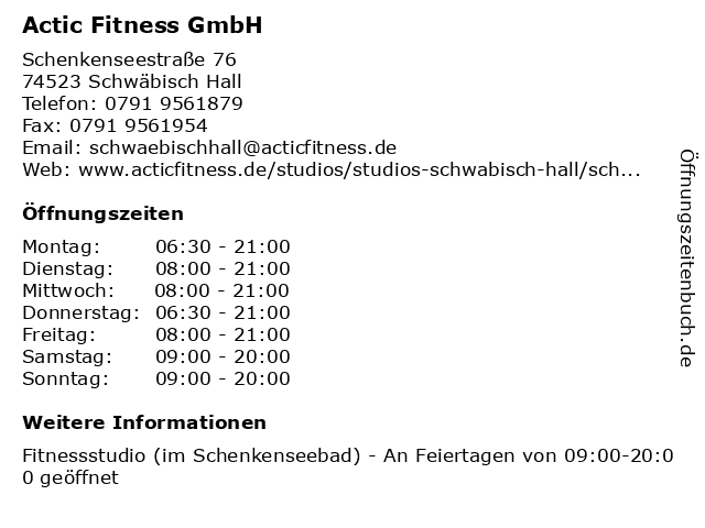 Actic Fitness GmbH in Schwäbisch Hall: Adresse und Öffnungszeiten